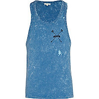 Blue acid wash back print vest