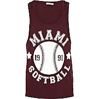 Red Miami Softball print vest