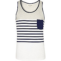 Ecru placement stripe colour block vest