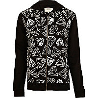 Black and white diamond print hoodie
