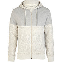 Grey burnout aztec panel colour block hoodie