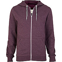 Purple marl zip through hoodie