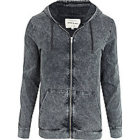 Grey acid wash zip through hoodie