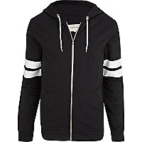 Black and white stripe sleeve hoodie