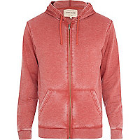 Red burnout zip through hoodie