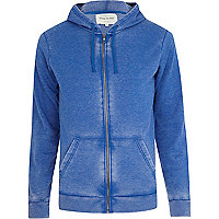 Blue burnout zip through hoodie