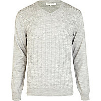 Grey lightweight cable knit V neck jumper