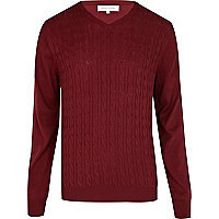 Dark red lightweight cable knit V neck jumper
