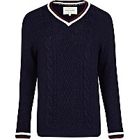 Navy V neck cricket jumper