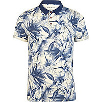 Blue floral print polo shirt
