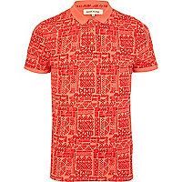 Orange doodle tribal print polo shirt