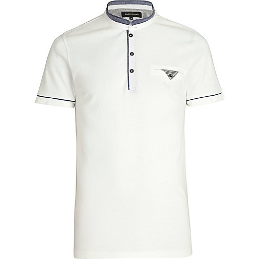 White stand up collar polo shirt