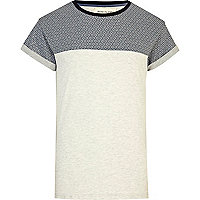 Ecru tile print colour block t-shirt
