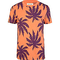 Orange tropical palm print t-shirt