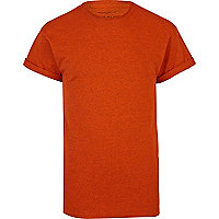 Orange crew neck roll sleeve t-shirt