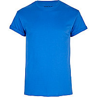 Bright blue crew neck roll sleeve t-shirt
