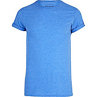 Blue marl roll sleeve crew neck t-shirt