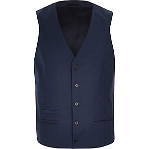 Blue wool-blend smart vest