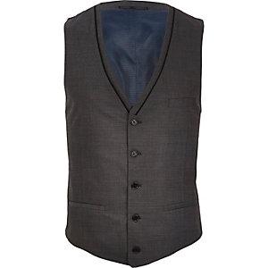 Grey contrast wool-blend vest
