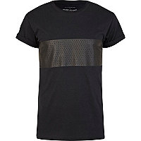 Black perforated print t-shirt