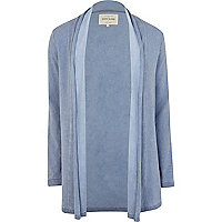 Blue denim-look unfastened cardigan