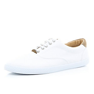White and tan contrast lace up plimsolls