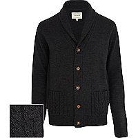 Dark grey cable knit pocket cardigan