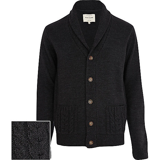 Dark grey cable knit pocket cardigan