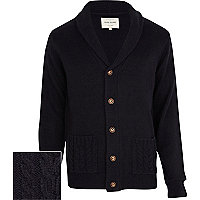 Navy cable knit pocket cardigan