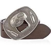 Brown skull bottle opener belt