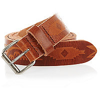 Brown aztec embossed belt