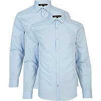 Light blue long sleeve poplin shirt pack