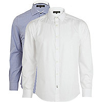 White and blue gingham long sleeve shirt pack