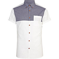 White short sleeve chambray Oxford shirt