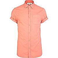 Pink short rolled sleeve Oxford shirt