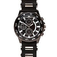 Black rubber and metal bracelet watch