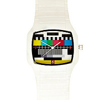 White retro test screen watch