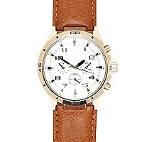 Brown small round watch