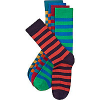 Green coloured stripe ankle socks pack