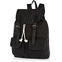 Black studded panel rucksack
