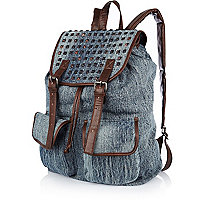 Acid wash studded denim rucksack