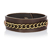 Brown leather chain cuff bracelet