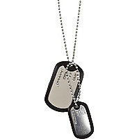 Grey rubber-edged dog tag necklace