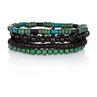 Green and black beaded bracelet pack