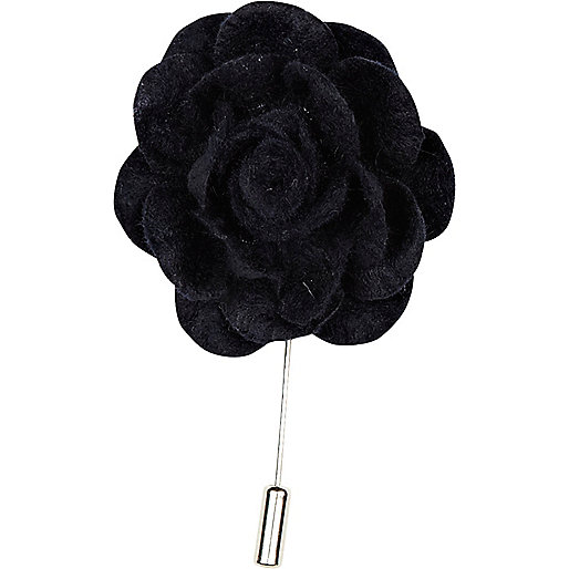 Navy flower lapel pin
