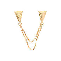 Gold tone chained collar tips