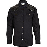 Blue leather-look quilted patch denim shirt