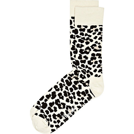 White leopard print Happy Socks