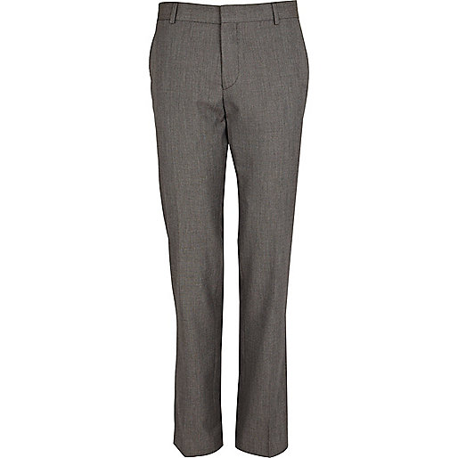 Grey contrast trim slim suit trousers