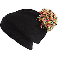 Black fluro bobble beanie hat
